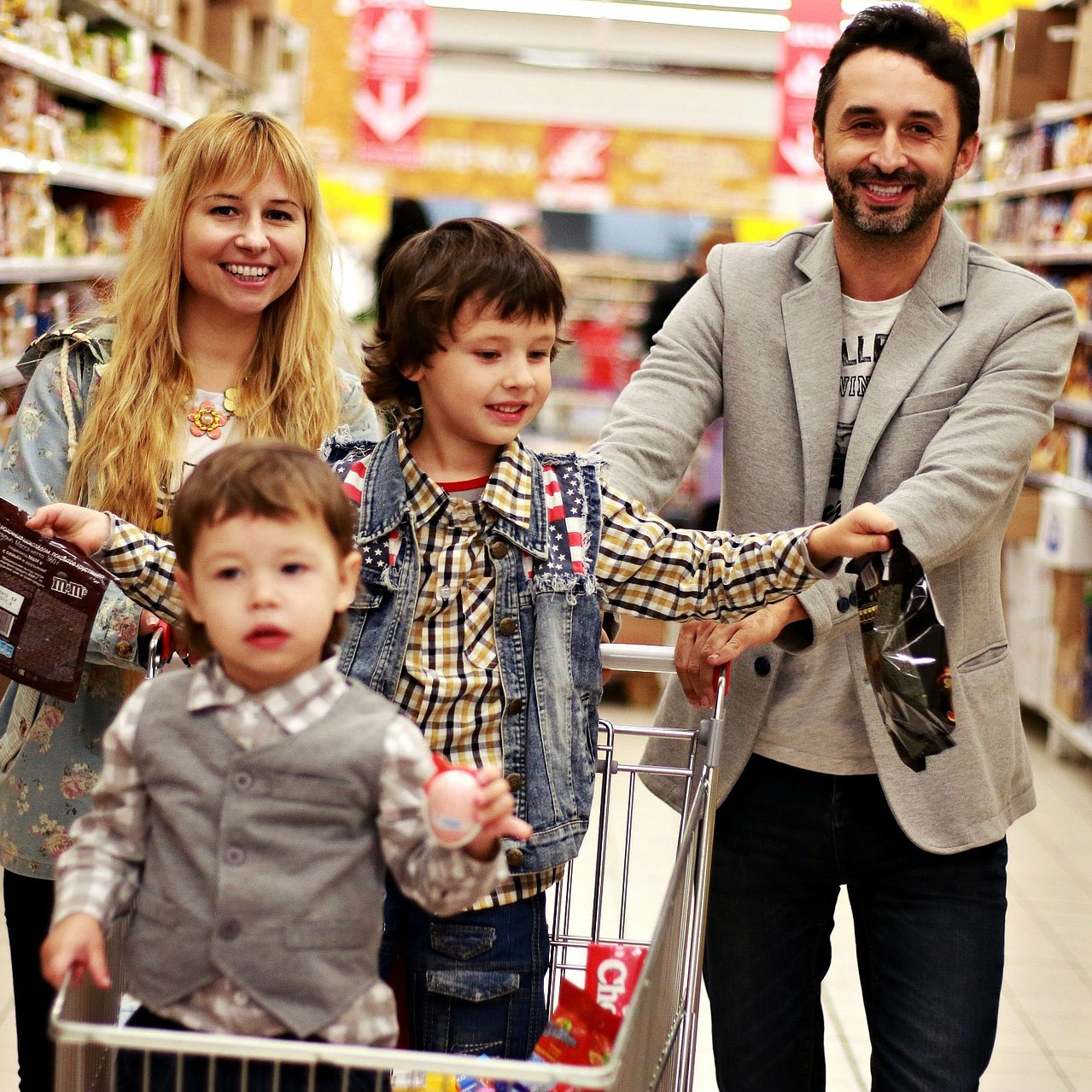 family in a grocery store